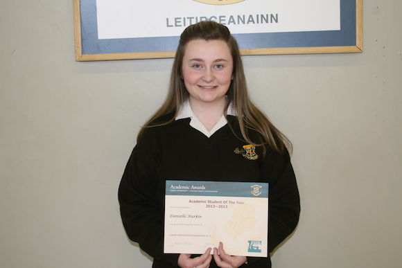 Junior Academic Student of the Year achieving 11 A1's in her Junior Certificate - Danielle Harkin