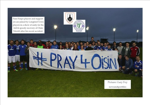 Harps and Longford players join fans in wishing Oisin Merritt a speedy recovery at Finn Park last night. Pic by Gary Foy.