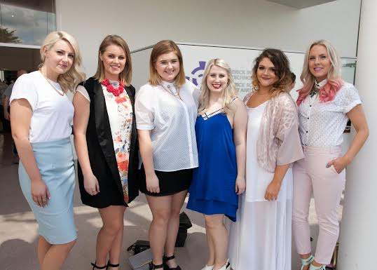 Aisling Magee, Donegal (extreme left) with Ruth Doyle, Kildare, Aideen O'Driscoll, Cork, Maeve Lawless, Galway,  Leanne Ryan, Newmarket on Fergus Clare and Maisie-Kate Kane, Galway,  at the opening of First Light, LSAD Graduate Show 2014 at the Limerick School of Art and Design in Limerick. Pic Arthur Ellis.