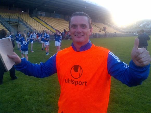 Winner: Naomh Conaill manager Sean Connaughton celebrates the victory at O'Donnell Park