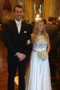 Kevin and laura on their wedding down - without Freddie the Pug!