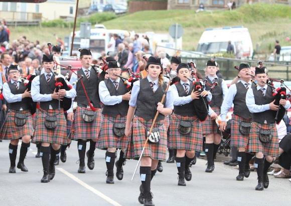The Raphoe Pipe Band at today's Rossnowlagh Parade. Pix Copyright North West News Pix