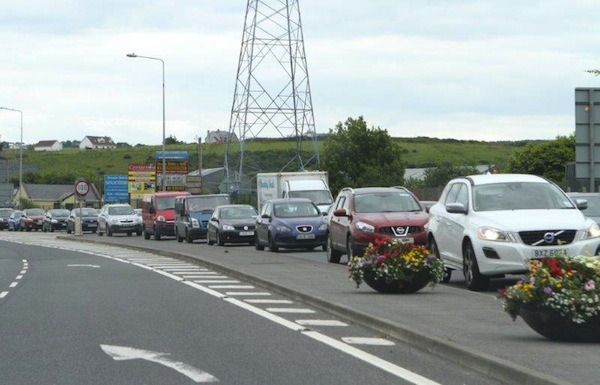 Traffic builds up coming into Letterkenny.