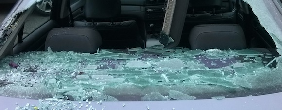 The smashed windscreen of Paul McHugh's BMW car.