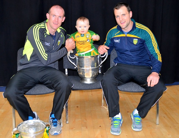 This little fella know the cup is in safe hands with Neil and Michael. ALL PICS BY KIND PERMISSION OF GERALDINE DVER.