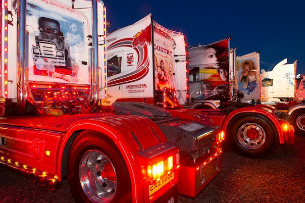 Custom paint in the night time light display at the North West Truck Festival on Saturday evening last.  Photo- Clive Wasson