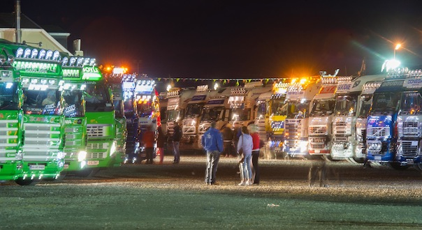 All lit up - trucks at the North West Truck Festival on Saturday evening last.  Photo- Clive Wasson