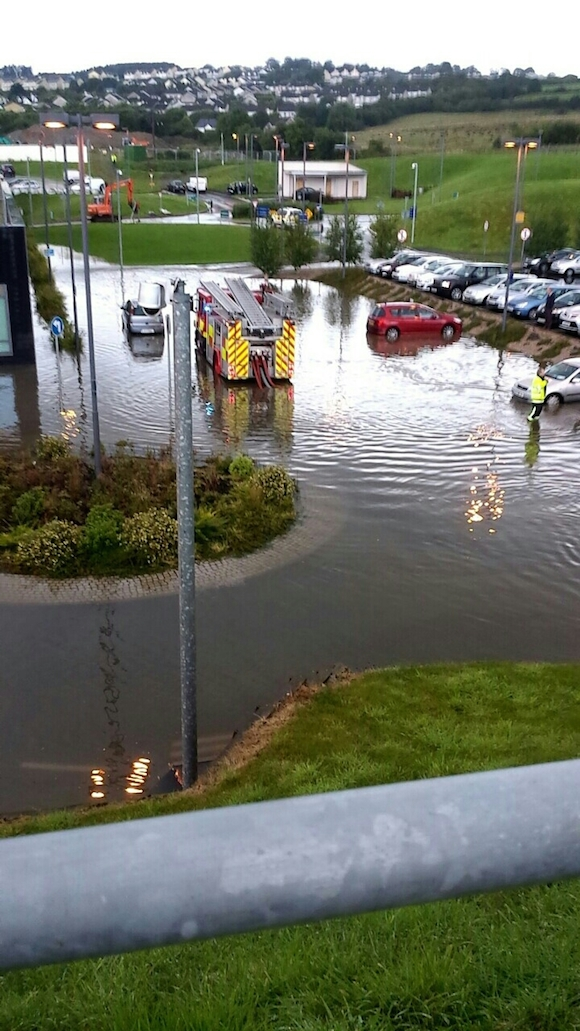 The scene this evening in the car park at the Emergency Department donegaldaily.com
