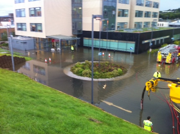 The flooding at Letterkenny General Hospital last night.