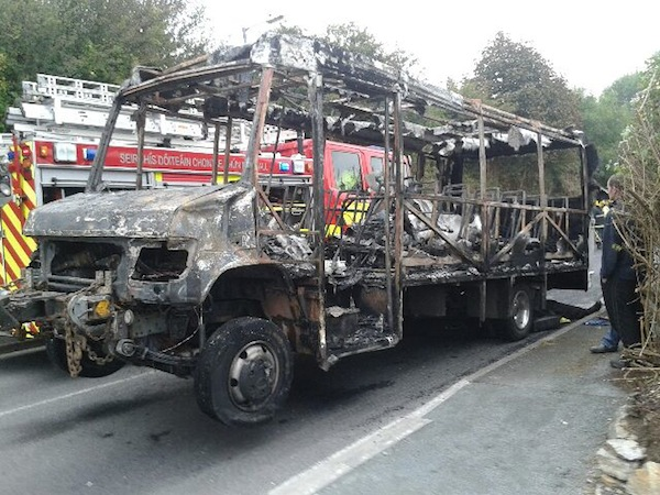 The remains of the bus after the fire was put out.
