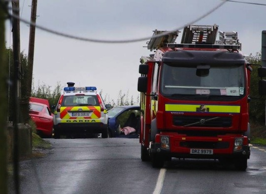 The scene of this morning's crash in Carrigans. Pic copyright of North West News Pix.