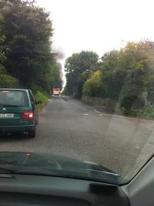The bus which caught fire in Glencar, Letterkenny this morning.