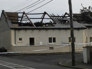 The Orange Hall in Newtowncunningham after is was badly damaged by fire this morning. Pic by Denis Hutton.
