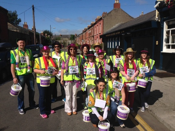 Anne-Marie Doherty and some of her 'bucket heroes' outside Croke Park collecting to help Paul walk for the first time.