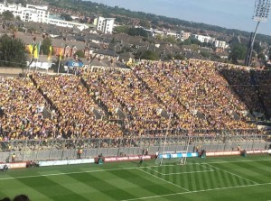 Donegal fans on Hill 16 for yesterday's final.