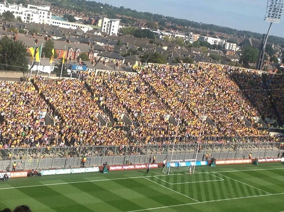 Donegal fans on Hill 16 for today's double header against Kerry.