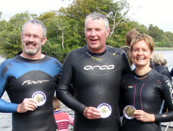 The Donegal trio after their swim.