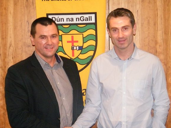 County chairman Sean Dunnion congratulates Rory Gallagher on his appointment this evening. Pic Official Donegal