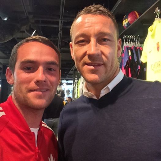 Brothers in arms: Former St Eunan's star Ciaran Greene gets a 'selfie' with Chelsea captain John Terry.