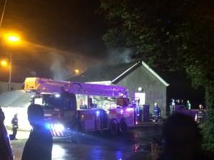 The scene of the arson attack on the Convoy Orange Hall.
