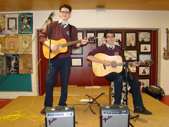 Niall Brennan and Ronan Friel performing at the launch of their CD.