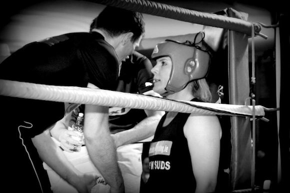 Danny Ryan has a word in the ear of his boxer. ALL PICS BY KIND PERMISSION OF GERALDINE DIVER.
