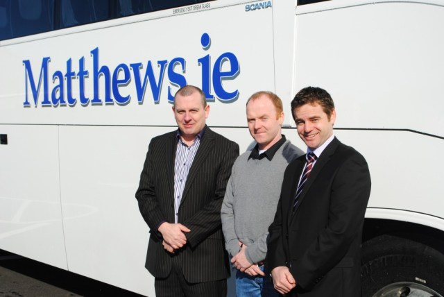"""L to R, Noel Matthews, MD Matthews Coach Hire, Michael Coleman and Karl Sweeney, Training Director Swilly Group.  Michael attended the Swilly Group Momentum funded Export & Transport Manager course in 2012/2013.  Michael served his work placement with Matthews Coach Hire and has secured full time employment with Matthews.  Michael has progressed through his course from being Long Term Unemployed to now holding a full time, senior management position with a progressive company for over a year"""
