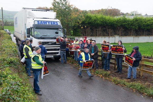 A truck held up as members of Donegal IFA as they blockade the Donegal / Foyle Meat's Factory Carrigans as part of there nationwide protest at the low prices being paid for cattle. Photo- Clive Wasson