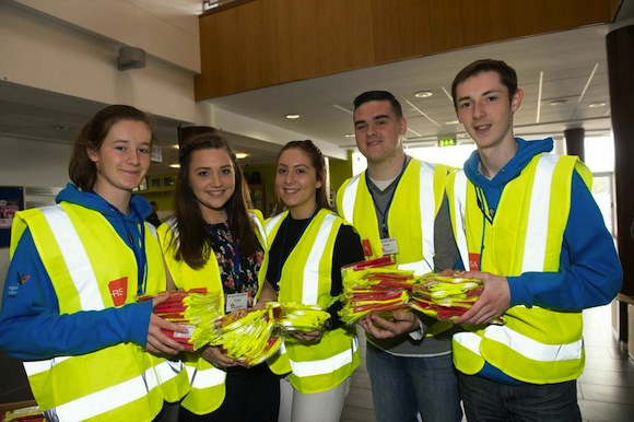 Volunteers handing out reflective jackets. ALL PICS BY CLIVE WASSON.