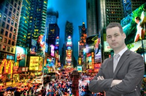 The Labour Party tweeted this picture 'mock-up' of Pearse Doherty in New York