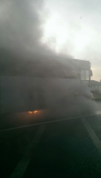 Brian McLaughlin managed to get all the pupils off this burning bus in just seconds. Pic by Donegal Daily.