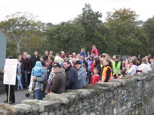 A recent protest by locals at Cockhill Bridge in Buncrana.