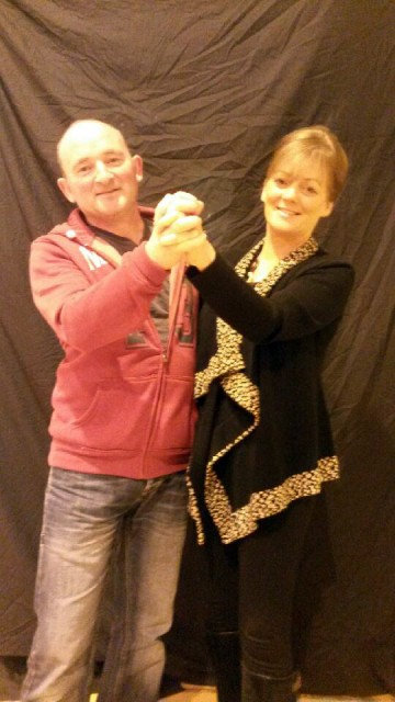 Deele College caretaker Gerry Crawford and art teacher Patrice Gallagher who are taking part in the Deele College Strictly Come Dancing on December 6th.