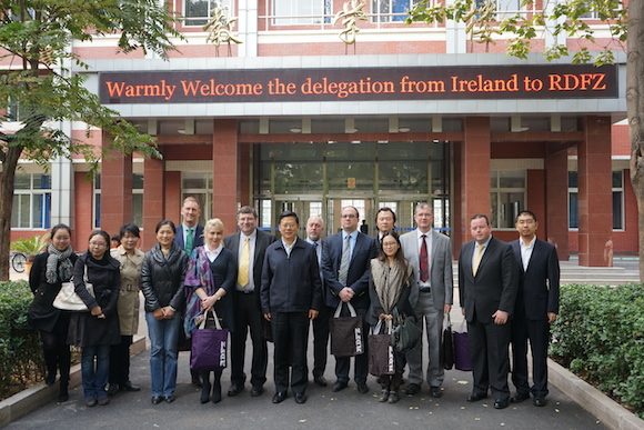 The delegation from Irish post primary schools which was received by the RDFZ , the number one Chinese School in Beijing. Ms. M. Corless is photographed with representatives from the RDFZ school and five Irish post primary school Principals.