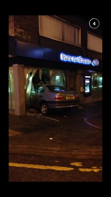 The car crashed into the bank in Falcarragh this morning. Pic by Donegal Daily.