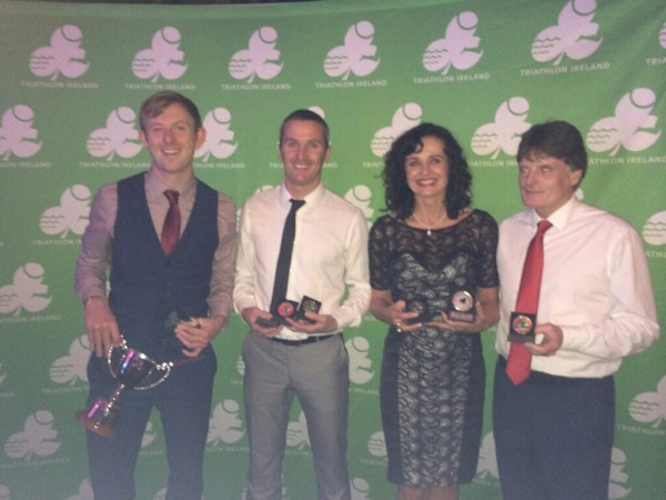 Aidan Callaghan, Gavin Crawford, Fin Begly, John Cannon at Triathlon Ireland Awards.