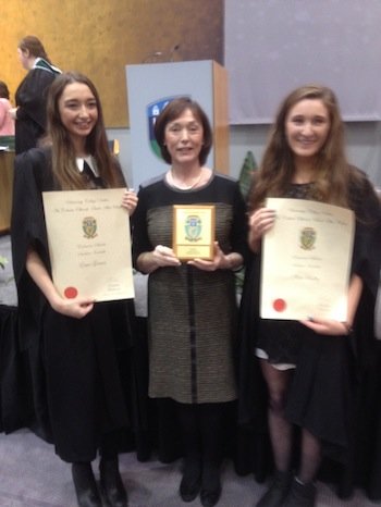 Esme and Katie with teacher Ms Susan Kenny from Loreto Secondary School in Letterkenny.