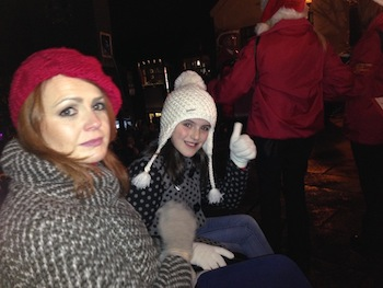 Leah MUllen gives us the thumbs-up with mum Bella just before she turned on the Christmas lights in Letterkenny.