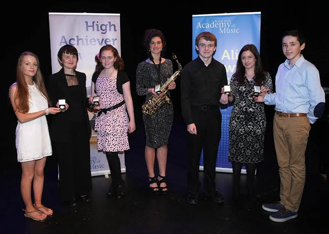 Recipients from County Donegal receiving their High Achiever's Award from the Royal Irish Academy of Music at the Waterside Theatre, Derry on Sunday last, from Theresa Doyle, Local Centre Manager, Royal Irish Academy of Music (second from left) and Dr. Jennifer McCay, Chair of Senior Examiners, Royal Irish Academy of Music (second from right). From left are Aisling Sharkey, Kincasslagh, Marie McGirr, Donegal Town, Lara Sweeney, Ardagh, Ceolan McMullian, Ballyshannon and Ciaran Traynor, Ballybofey.