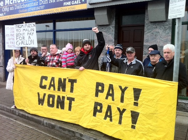 Protestors make their voices heard outside Minister Joe McHugh's office today. PIc by Donegal Daily.