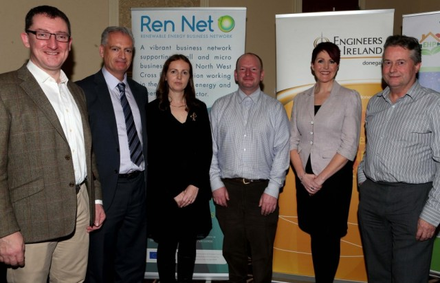 Pictured at the Engineers Ireland Open Evening in the Radisson Hotel, Letterkenny are Stephen Flynn Engineers Ireland Donegal Regional Chairman, Con Mc Laughlin Donegal Co.Co., Joanne Holmes Ren Net Project Officer Donegal Co. Co., Russell Drew Whitemountain Ltd., Shirley Mc Donald Engineers Ireland and Michael Deehan Renewable Building Technologies Ltd.