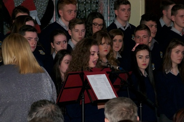 Some of the carol singers at the Deele College concert.