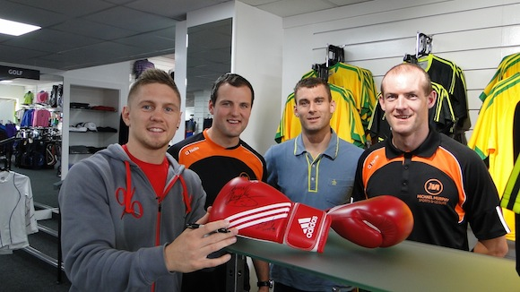 Jason Quigley visiting the store shortly after it opened.