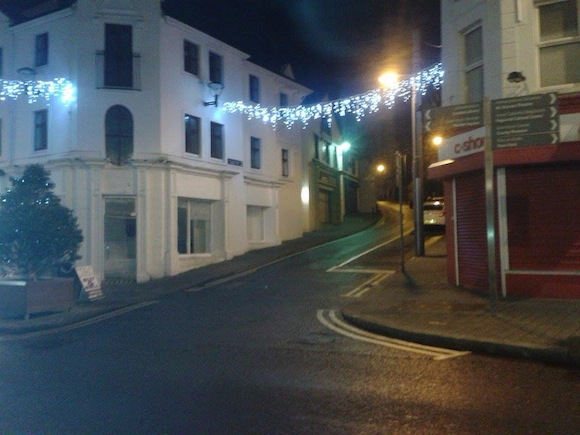 Letterkenny's Church Lane is lit up for Christmas.