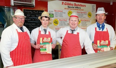 Pictured from left in The Friendly Meat shop are Paddy Gildea, Jerry Drumm, Cathal McFadden and Lee Gildea.