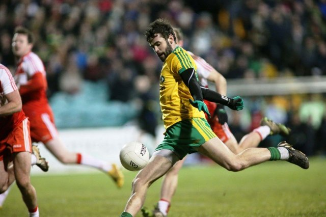 Odhran Mac Niallais fires home Donegal's goal midway through the second-half.