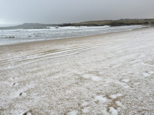 The hailstones which came on the beach at Dunfanaghy.