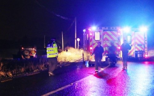 The scene of tonight's crash in which resulted in two men being rushed to hospital. Pic by Northwest Newspix.