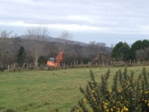 The scene of the incident in Glenswilly today in which a man was shot in the face while using a digger.