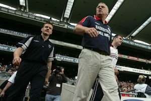 Jack Cooney pictured with former Westmeath manager Paidi O'Se before the Leinster Football Final in 2004.